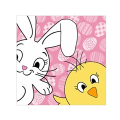 Easter bunny and chick  Small Satin Scarf (Square)