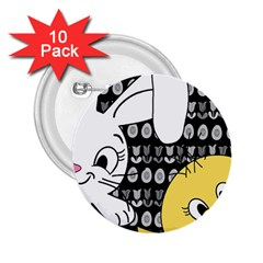 Easter bunny and chick  2.25  Buttons (10 pack)