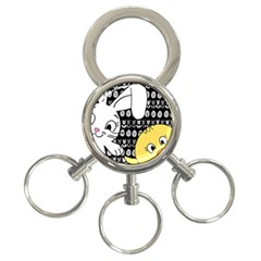 Easter bunny and chick  3-Ring Key Chains
