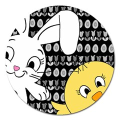 Easter bunny and chick  Magnet 5  (Round)