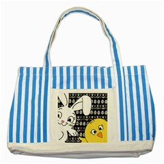 Easter bunny and chick  Striped Blue Tote Bag