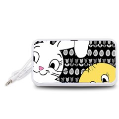 Easter bunny and chick  Portable Speaker (White)