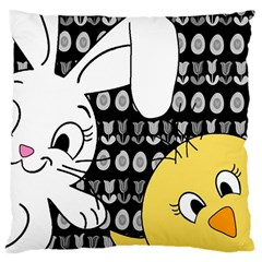 Easter bunny and chick  Large Cushion Case (Two Sides)