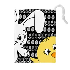 Easter bunny and chick  Drawstring Pouches (Extra Large)