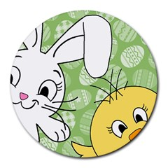 Easter bunny and chick  Round Mousepads