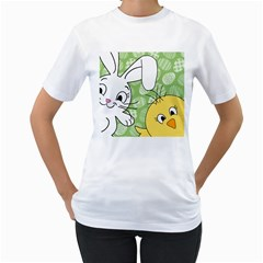 Easter bunny and chick  Women s T-Shirt (White) (Two Sided)