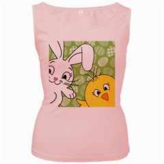 Easter bunny and chick  Women s Pink Tank Top