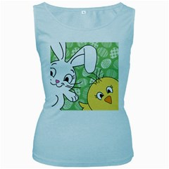 Easter bunny and chick  Women s Baby Blue Tank Top