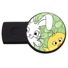Easter bunny and chick  USB Flash Drive Round (2 GB)