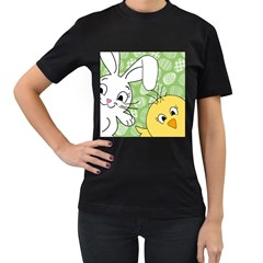 Easter bunny and chick  Women s T-Shirt (Black) (Two Sided)