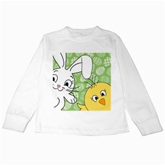 Easter bunny and chick  Kids Long Sleeve T-Shirts