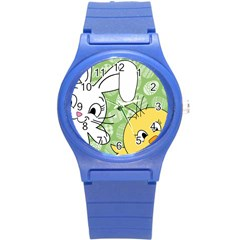 Easter bunny and chick  Round Plastic Sport Watch (S)