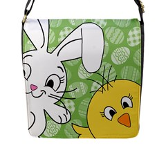 Easter bunny and chick  Flap Messenger Bag (L)