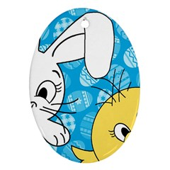 Easter bunny and chick  Ornament (Oval)