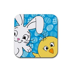 Easter bunny and chick  Rubber Square Coaster (4 pack)