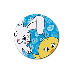 Easter bunny and chick  Rubber Round Coaster (4 pack)