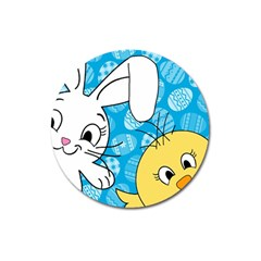 Easter bunny and chick  Magnet 3  (Round)