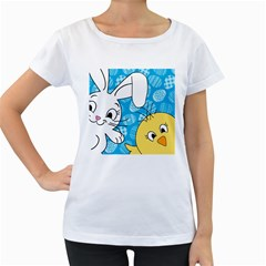 Easter bunny and chick  Women s Loose-Fit T-Shirt (White)