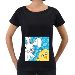 Easter bunny and chick  Women s Loose-Fit T-Shirt (Black)
