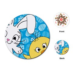Easter bunny and chick  Playing Cards (Round)