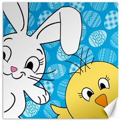 Easter bunny and chick  Canvas 20  x 20