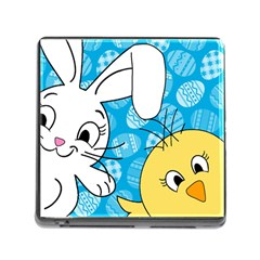 Easter bunny and chick  Memory Card Reader (Square)