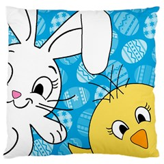 Easter bunny and chick  Large Cushion Case (One Side)