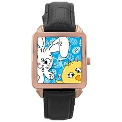 Easter bunny and chick  Rose Gold Leather Watch