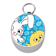 Easter bunny and chick  Mini Silver Compasses