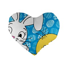 Easter bunny and chick  Standard 16  Premium Flano Heart Shape Cushions