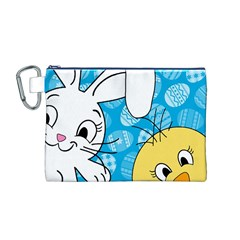 Easter bunny and chick  Canvas Cosmetic Bag (M)