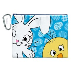Easter bunny and chick  Canvas Cosmetic Bag (XXL)