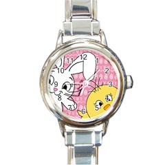 Easter bunny and chick  Round Italian Charm Watch