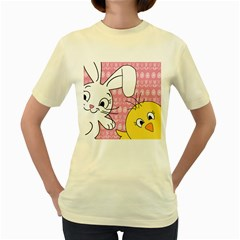 Easter bunny and chick  Women s Yellow T-Shirt