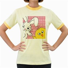 Easter bunny and chick  Women s Fitted Ringer T-Shirts
