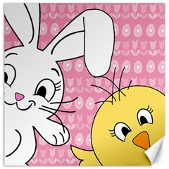 Easter bunny and chick  Canvas 16  x 16