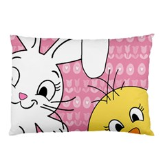 Easter bunny and chick  Pillow Case (Two Sides)