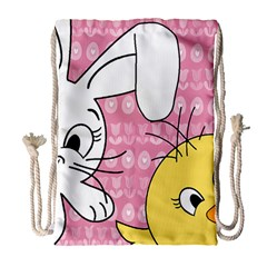 Easter bunny and chick  Drawstring Bag (Large)