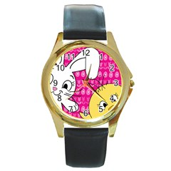 Easter Round Gold Metal Watch