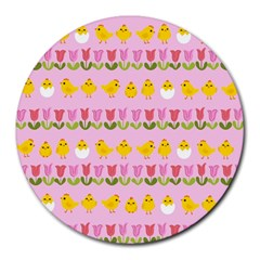 Easter - chick and tulips Round Mousepads