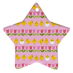 Easter - chick and tulips Ornament (Star)