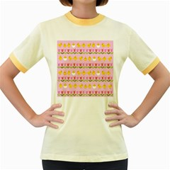 Easter - chick and tulips Women s Fitted Ringer T-Shirts