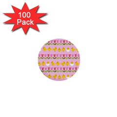 Easter - chick and tulips 1  Mini Buttons (100 pack)