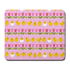 Easter - chick and tulips Large Mousepads