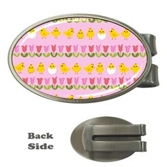 Easter - chick and tulips Money Clips (Oval)