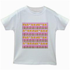 Easter - chick and tulips Kids White T-Shirts