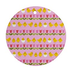Easter - chick and tulips Round Ornament (Two Sides)