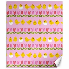 Easter - chick and tulips Canvas 8  x 10