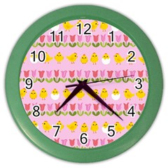 Easter - chick and tulips Color Wall Clocks