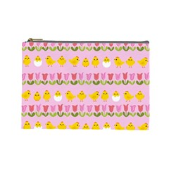 Easter - chick and tulips Cosmetic Bag (Large)